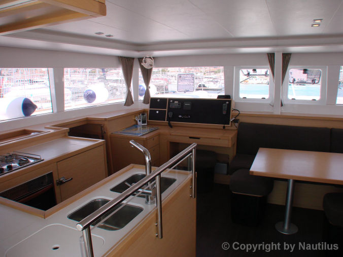 Lagoon 450 chart table and galley