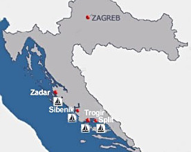 Map of charter bases in Croatia