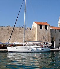 Sailing yacht in front of Trogir Croatia